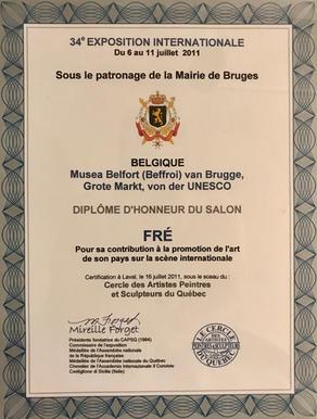 Diplôme d'honneur Expo Bruges -CAPSQ