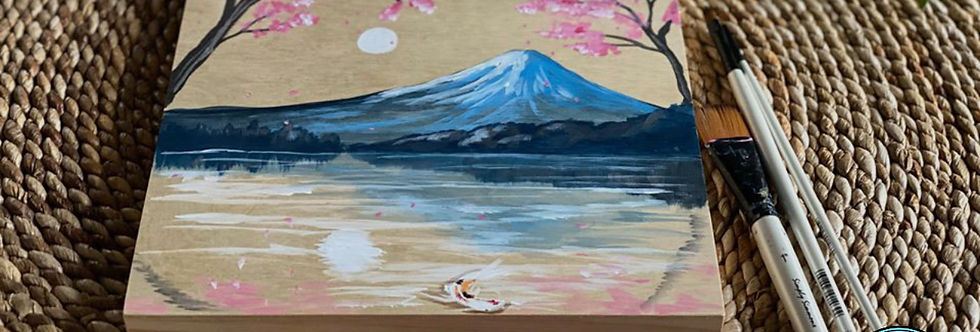 Mt Fuji on Birch Panel