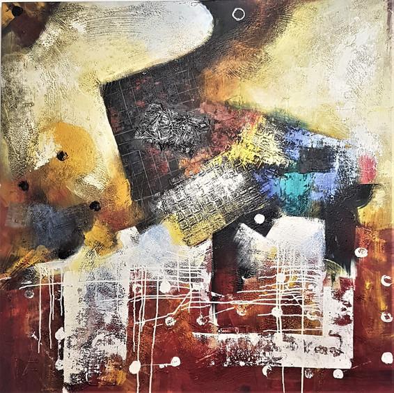 "#48. ""Obsession"". Acrylic, mixed media on canvas, 120cm x 120cm. $599."
