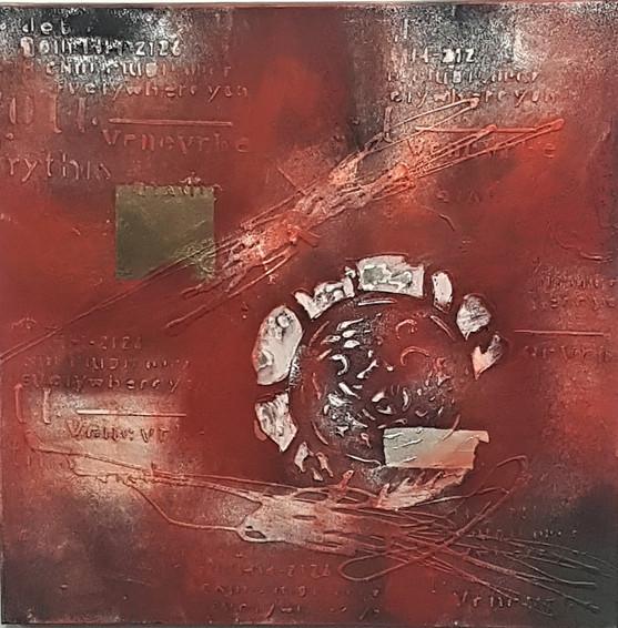 """#47. """"Everywhere You"""". Acrylic, mixed media on canvas. 60cm x 60cm. $299."""