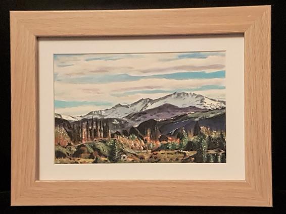 "#12. New Original Painting, Miniature, R. Lee, ""Alps of Central Otago"", $199"