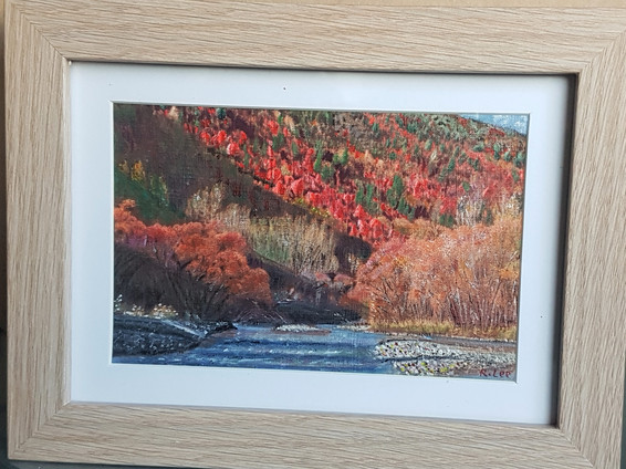"""#10. New Original Painting, Miniature, Acrylic, R. Lee """"Autumn in Arrowtown"""", $199."""