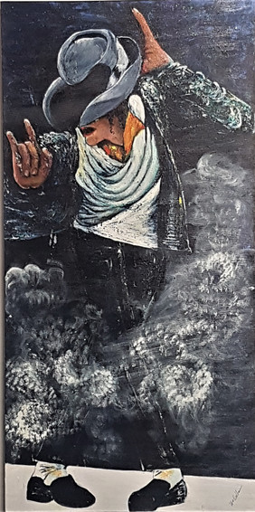 "#34. ""Michael"". Acrylic on canvas. 102cm x 50.5cm. $399."