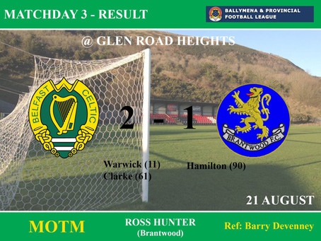 Match Result Wednesday 21st August 2019    ​    ​