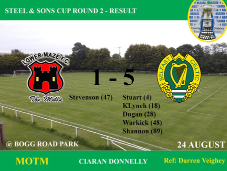 Match Result Saturday 24th August 2019    ​    ​