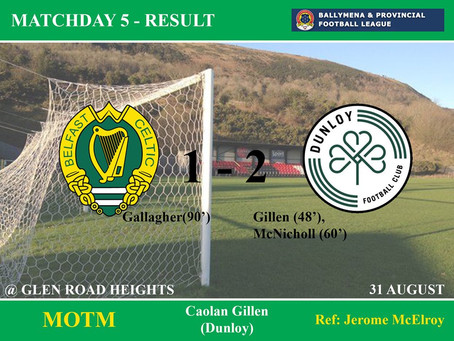 Match Result Saturday 31st August 2019    ​    ​