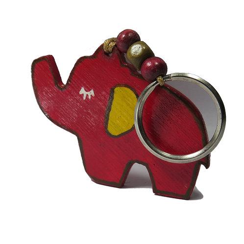 Elephant Trunk Up Bamboo Keychain