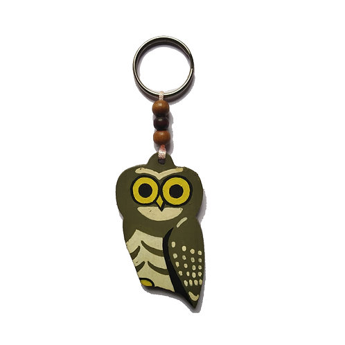 Forest Owlet Bamboo Keychain