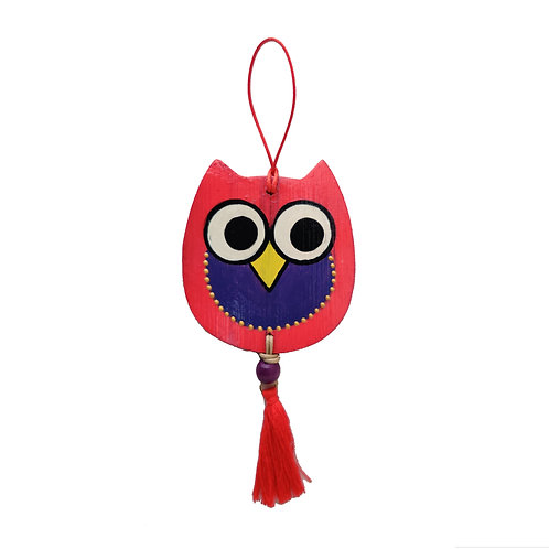 Happy Owl Bamboo Car Hanging