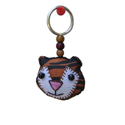 Smiling Tiger Fabric Keychain
