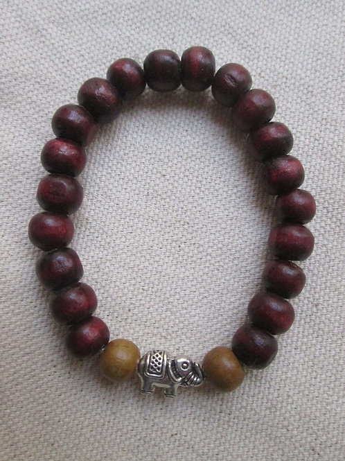 Elephant Bracelet with Wooden Beads