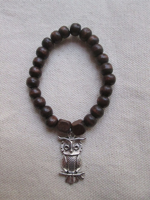 Owl Bracelet with Wooden Beads