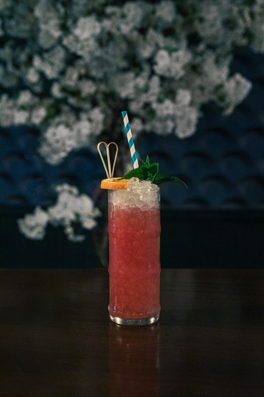 A cocktail by Alfred Siu with mezcal
