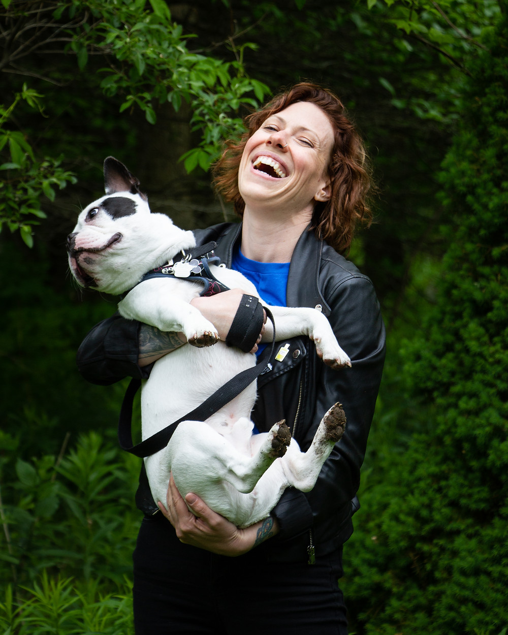 Portrait of Julie Belanger-Cateysson and her french bulldog Lucky