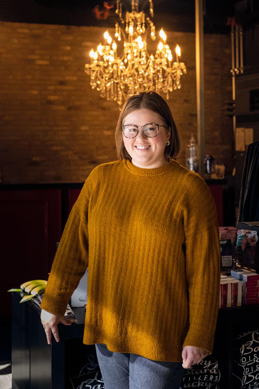 Portrait of Deandra Bailey, Chief Brand Officer at Lucky Bastard Distillers in Saskatoon.