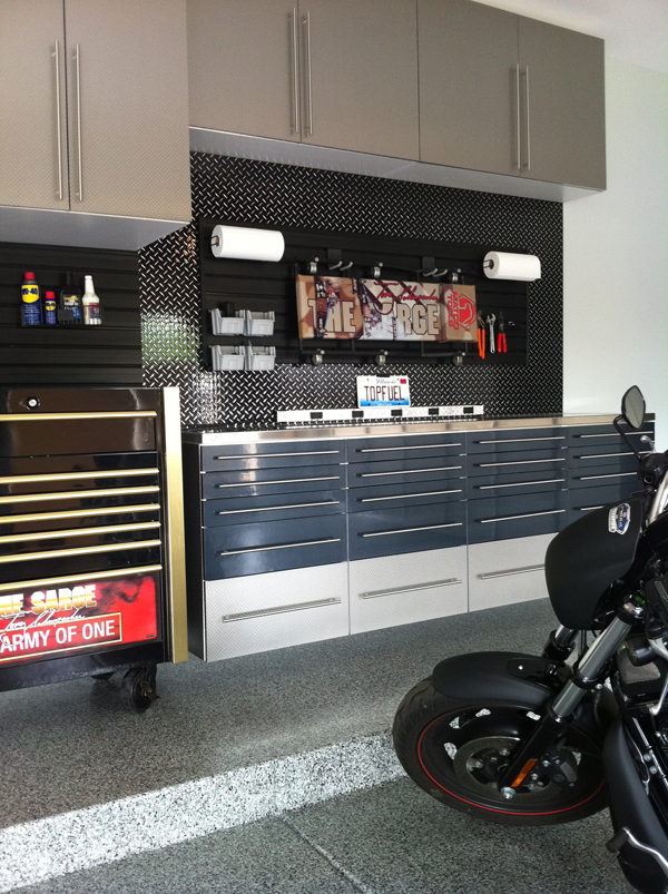 Platinum and Black Garage Cabinets 1
