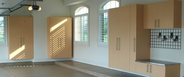 Garage storage cabinets and floor coating by EncoreGarage