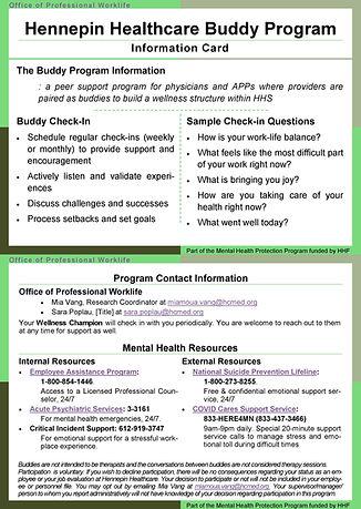 HHS Buddy Program Info Card