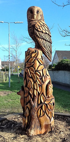 Fear na Coillte Chainsaw Sculptures, Owl Totem, Tralee, Co Kerry, Ireland