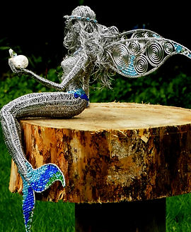 Wired to the Moon Unique Wire Sculptures Mermaid Fairy with Koi Carp