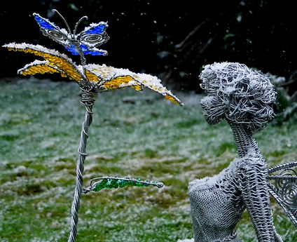 Wired to the Moon Unique Wire Sculptures Fairy with Sunflower and Butterfly