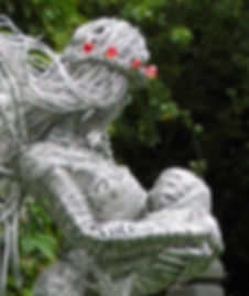 Wired to the Moon Unique Wire Sculptures Angel holding Baby