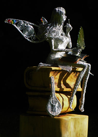Wired to the Moon Unique Wire Sculptures Fairy with book and mandolin