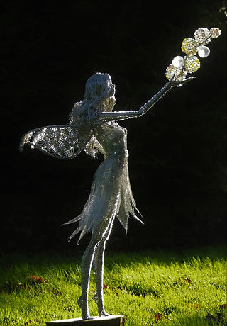 Wired to the Moo Unique Wire Sculptures Fairy with Bubbles