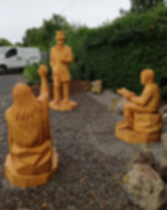 Fear na Coillte Chainsaw Sculptures Hede School Scene, Kilross, Co Tipperary