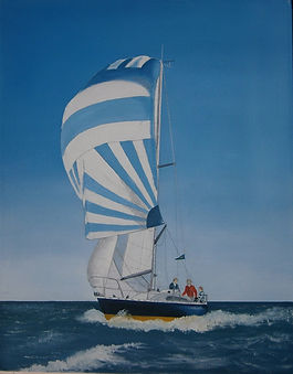 Mike's Art Studio,sailing, spinnaker, oil painting commissions
