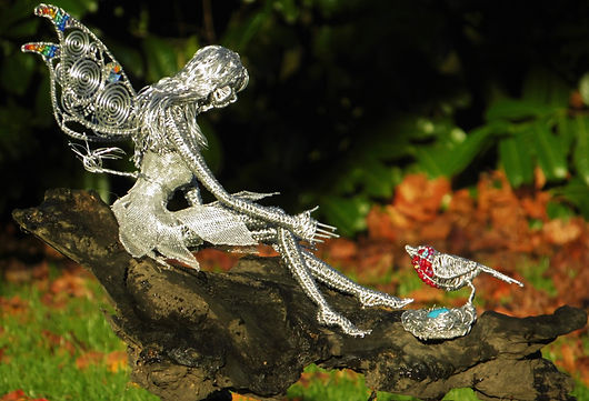 Wired to the Moon Unique Wire Sculptures Fairy with Robin on nest