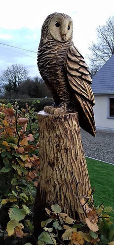 Fear na Coillte Chainsaw Sculptures, Sculpture of Owl, Garden Design, Ireland
