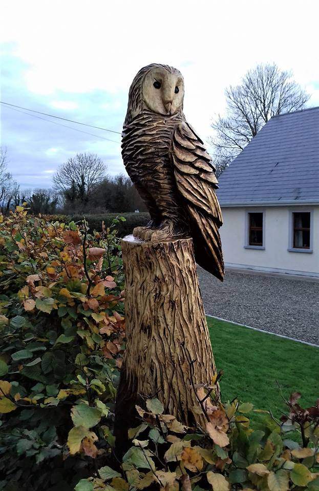 Ft double owl chainsaw carving