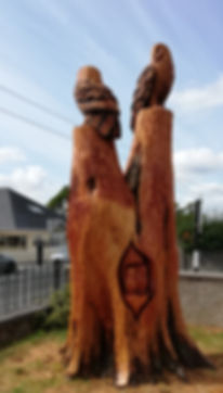 Fear na Coillte Chainaw Sculptures, National School, Nenagh, Co Tipperary.  Standing at about 15', this was carved from a damaged tree