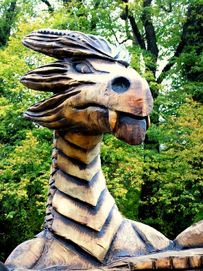 Fear na Coillt Chainsaw Sculptures Dragon Carving, Mallow Castle, Co Cork