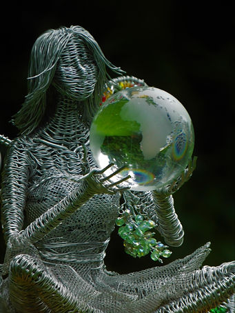 Wired to the Moon Unique Wire Sculptures Fairy with Globe on books