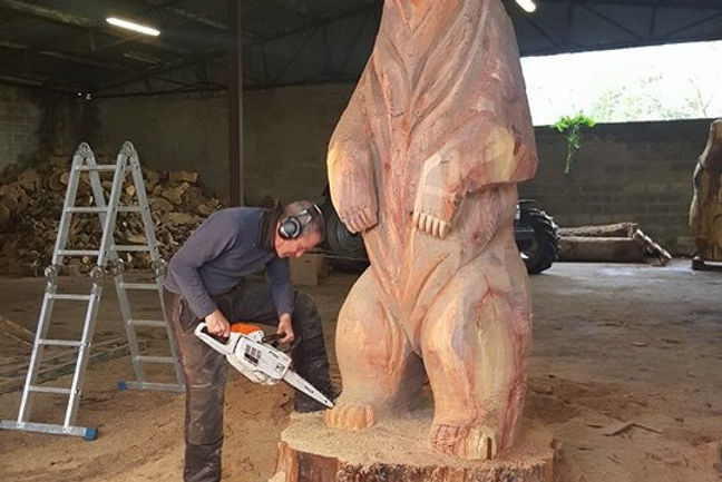 Fear na Coillte Chainsaw Sculptures Commission Carving of Bear
