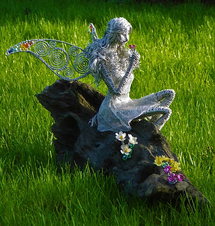 Wired to the Moon Unique Wire Sculptures Fairy with Flowers of the Burren