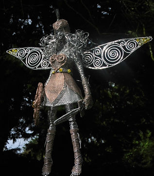 "Wired to the Moon Unique Wire Sculptures Warrior Fairy Princess from ""I'd Rather be a Fairy Princess"""