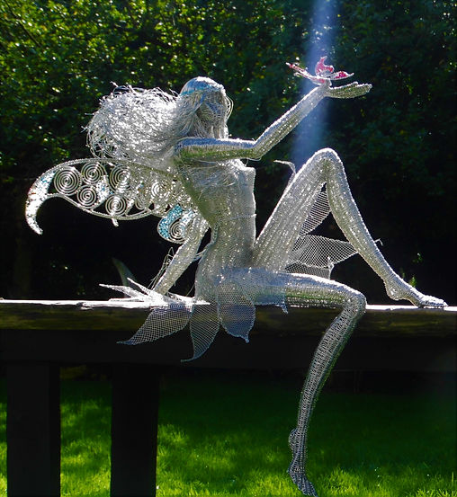Wired to he Moon Unique Wire Sculptures Large Fairy with Butterfly