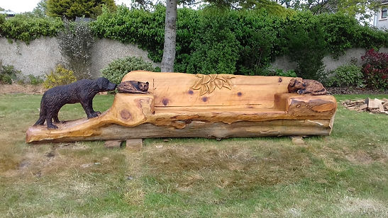 Fear na Coillte Chainsaw Sculptures Carved Bench with dogs and cat, Tralee, Co Kerry
