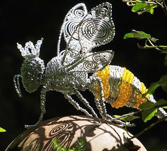 Wired to the Moon Unique Wire Sculpures Queen Bee on Beehive