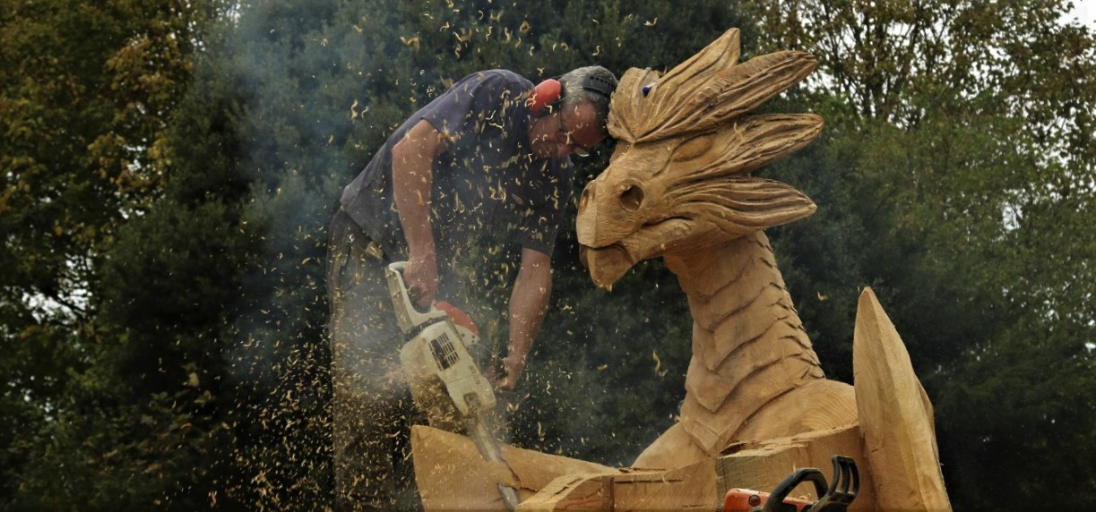 Carving a Dragon Throne, Mallow Castle, Co Cork