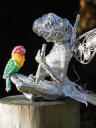Wired to the Moon Unique Wire Sculptures Fairy with Ukuklele and Lovebird