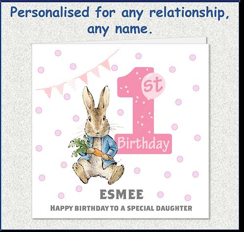 Personalised Peter Rabbit 1st Birthday Card - Girl