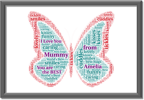 Personalised MUMMY butterfly word art print