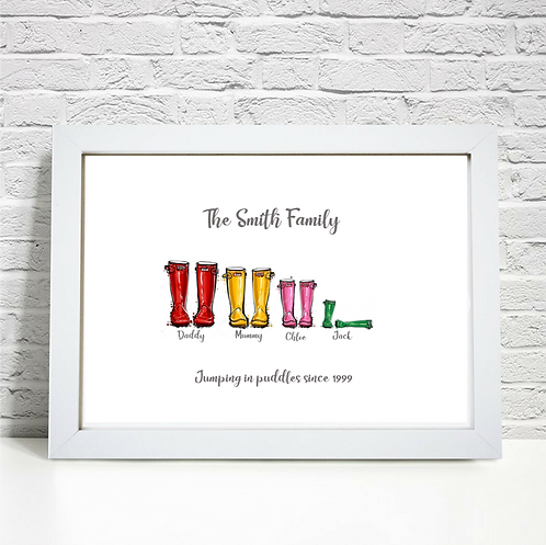 Personalised Family Wellie Boot Print