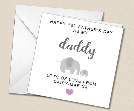 Personalised 1st Father's Day Card - Elephants - FD06