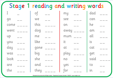 Stage 1 reading and writing Words