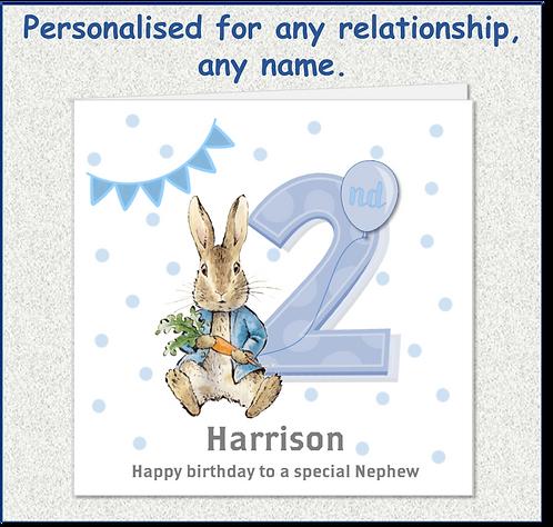 Personalised Peter Rabbit 2nd Birthday Card - Boy